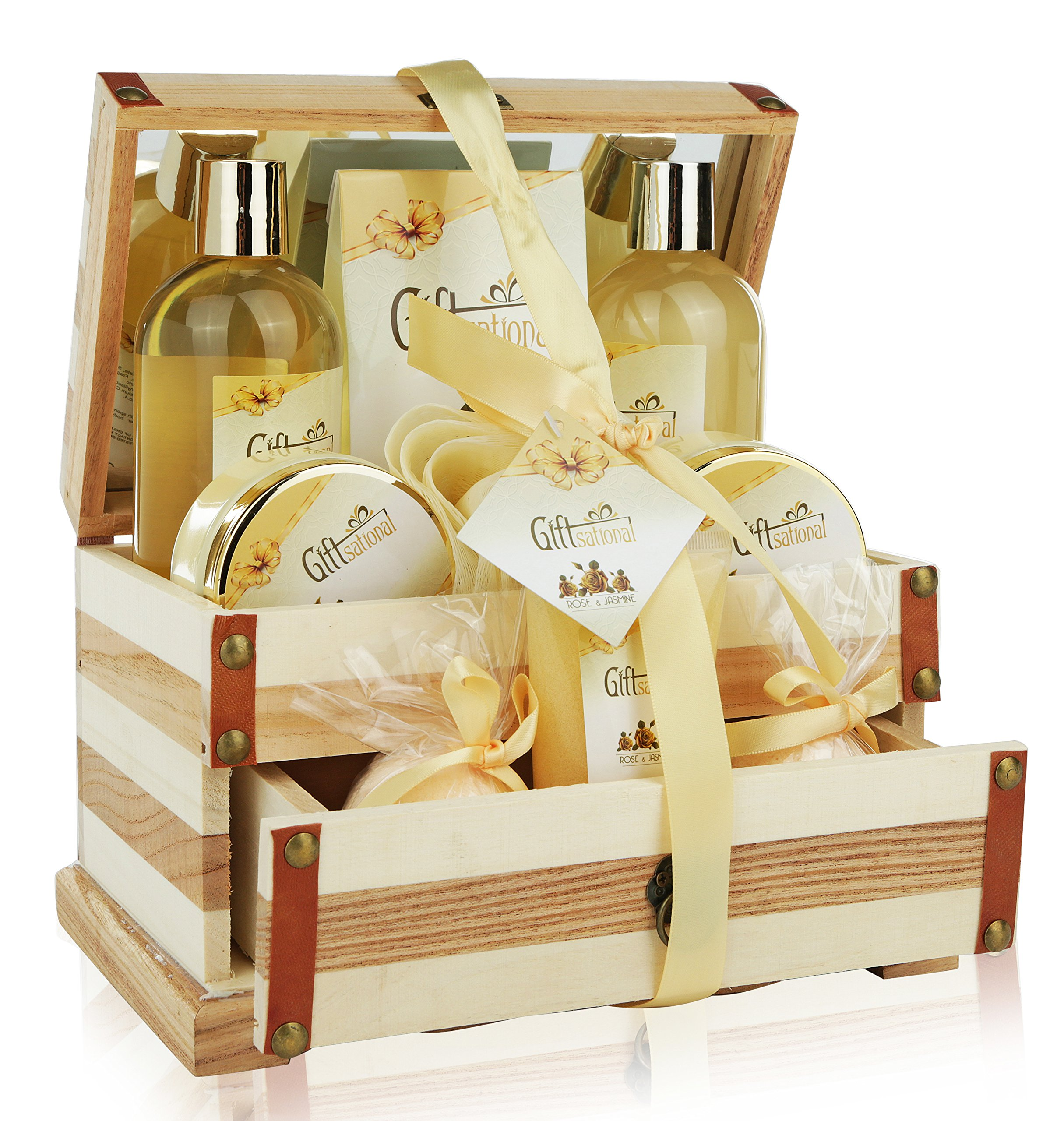 Spa Gift Basket Refreshing Rose & Jasmine Fragrance, Beautiful Wooden Gift Box with Mirror, Perfect Wedding, Birthday or Anniversary Gift, Bath gift Set Includes Shower Gel, Bath Bombs and More!