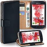 Pochette OneFlow pour Samsung Galaxy Ace 4 housse Cover avec fentes pour cartes | Flip Case étui housse téléphone portable à rabat | Pochette téléphone portable étui de protection accessoires téléphone portable protection bumper en DEEP-BLACK