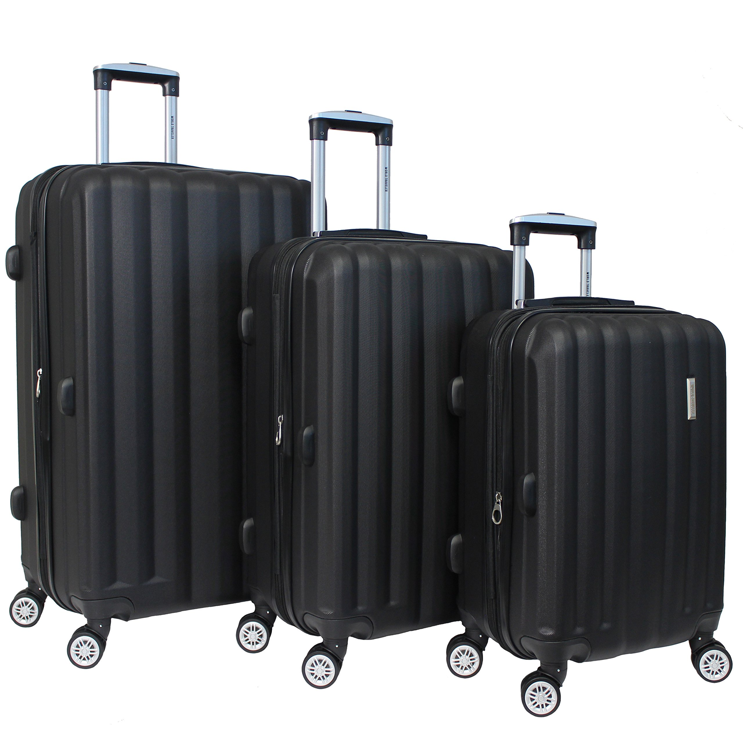 World Traveler Adventure 3-Piece Hardside Spinner Luggage Set, Black