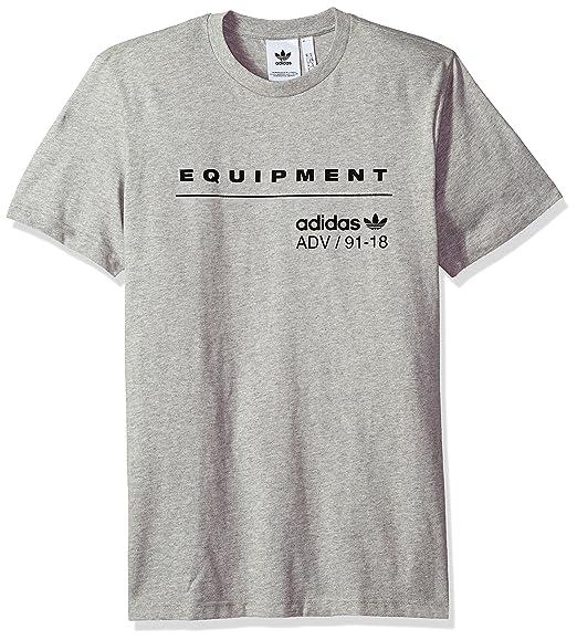 adidas Equipment Mens EQT Logo T-Shirt 100/% Cotton Short Sleeved Crew Neck White