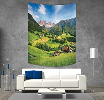 Stupendous Amazon Com Polyester Tapestry Wall Hanging Nature Alps In Andrewgaddart Wooden Chair Designs For Living Room Andrewgaddartcom