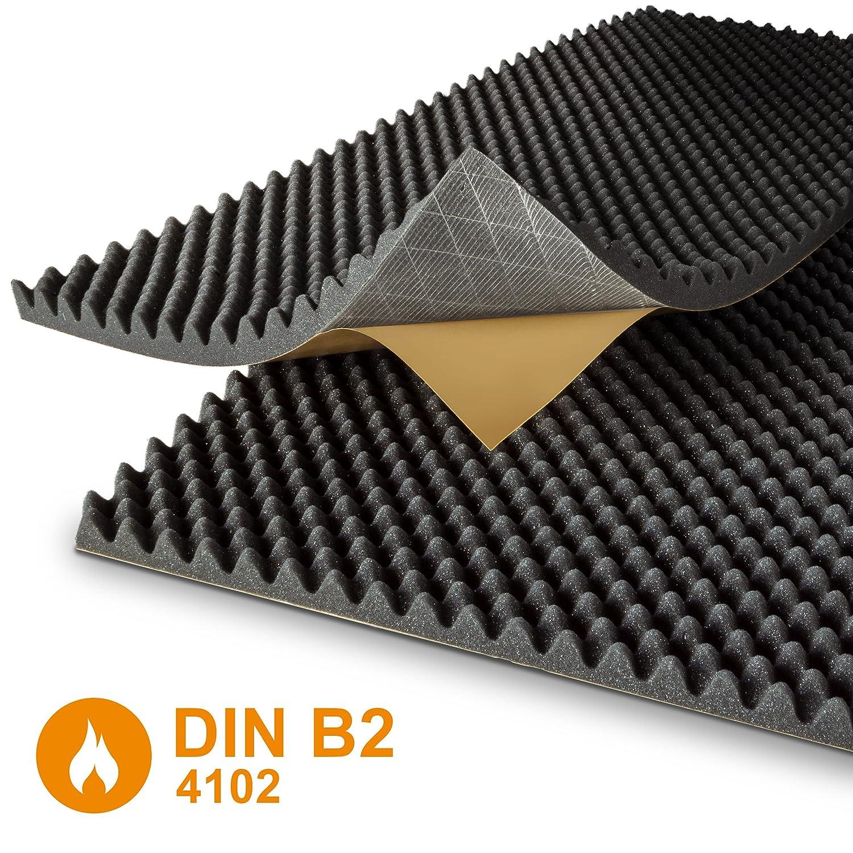 Noppenschaumstoff - selbstklebend - anthrazit - DIN4102 B2 - Akustik Plus - 2 Platten je 100 x 50 cm - Höhe 6 cm Schaumstoffe Helgers