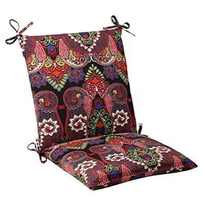 Pillow Perfect Outdoor Marapi Squared Chair Cushion, Black: Home & Kitchen