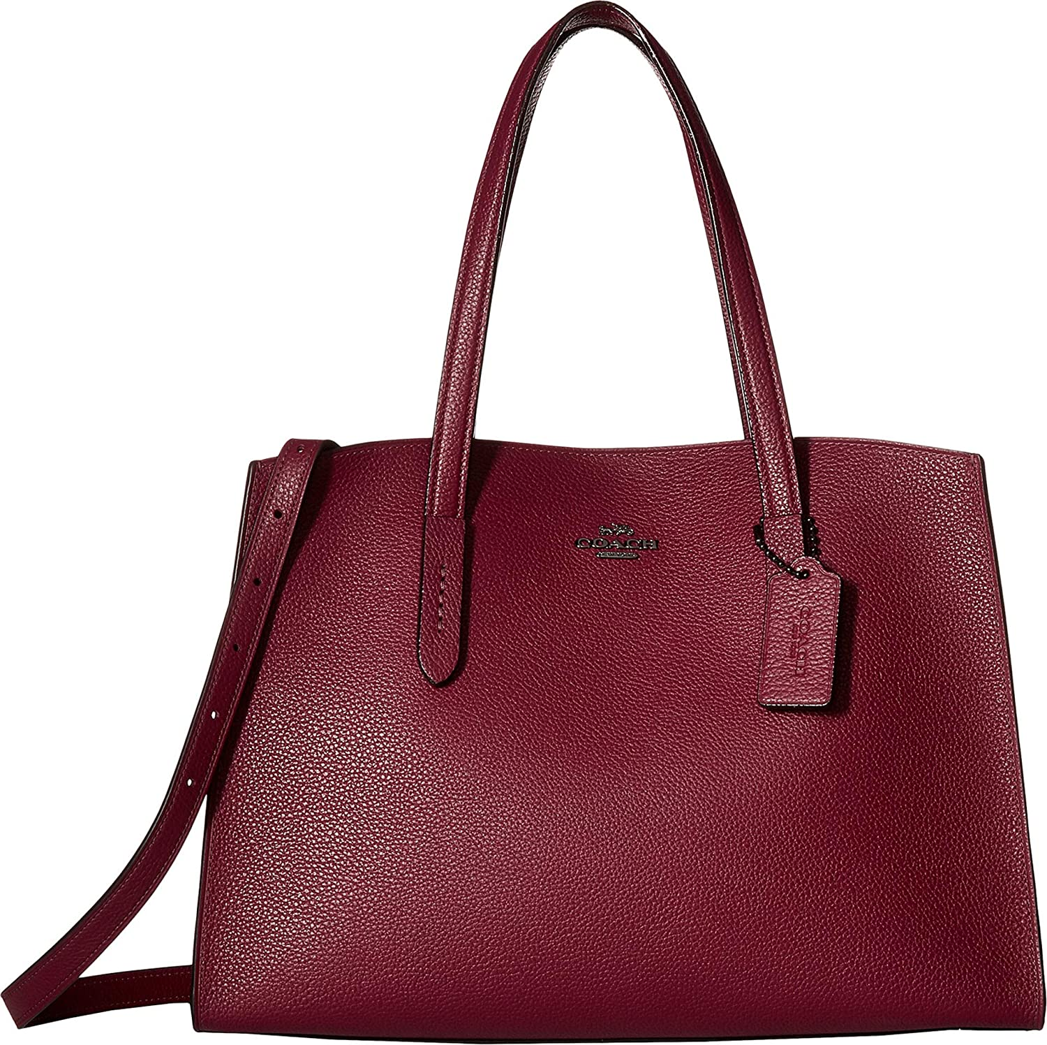 497c4dfc3 COACH Women's Metallic Interior Charlie Carryall Gunmetal/Dark Berry One  Size: Handbags: Amazon.com