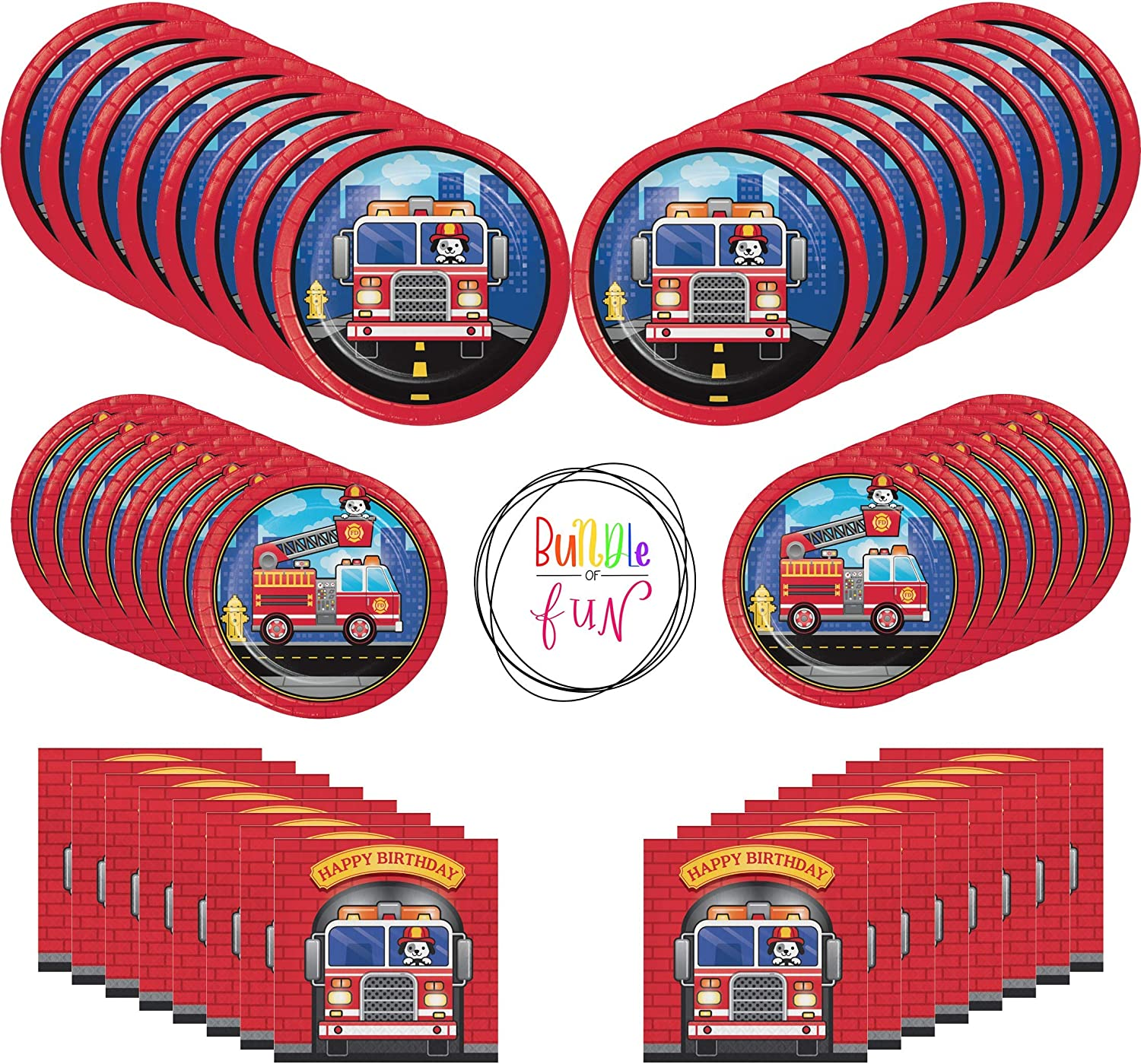 Dinner Plates Construction Zone Birthday Party Bundle and Napkins Kit for 16 Creative Converting Dessert Plates