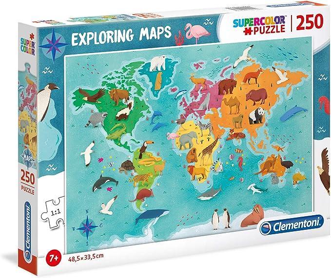Clementoni- Puzzle Mapa 250 Piezas Mundo - Animales (29063.5): Amazon.es: Juguetes y juegos