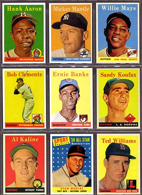1958 Topps Baseball 9 Card Reprint Lot Hank Aaron Mickey Mantle