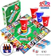 DRINK-A-PALOOZA Board Games: Party Drinking Games for Adults - Game Night Party Games | Fun Adult Beer Games Gift with Beer Pong + Flip Cup + Kings Cup Card Games + More!