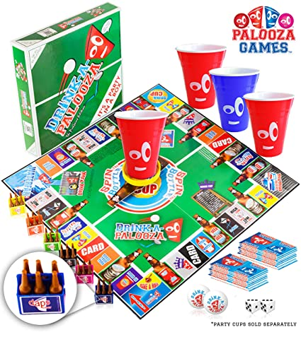 DRINK-A-PALOOZA Board Game: Fun Drinking Games for Adults & Game Night  Party Games | Adult Games Combo of Beer Pong + Flip Cup + Kings Cup Card  Games