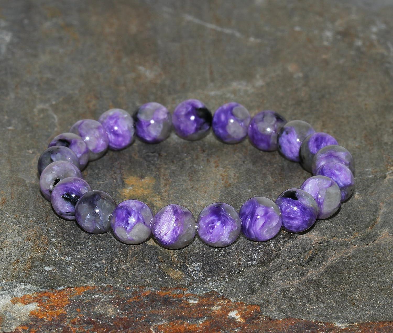 Pulsera de Charoita Rusa de 8 mm, Joyería de Cuentas de Mala de Piedras Preciosas Naturales Púrpura, Pulsera Violeta, Pulseras de Mujer