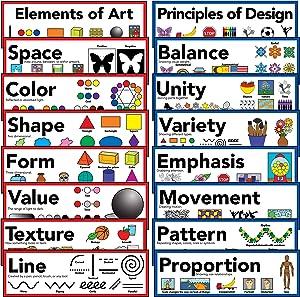 "Elements of Art & Principles of Design Art Poster 5"" X 16"" (Set of 16)"