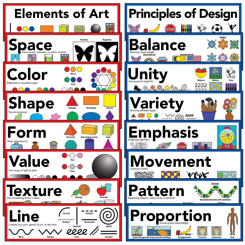 Amazon Com Elements Of Art Principles Of Design Art Poster  Set Of 16 Everything Else
