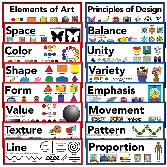 Amazon Com Elements Of Art Principles Of Design Art Poster  Set Of 16 Everything Else