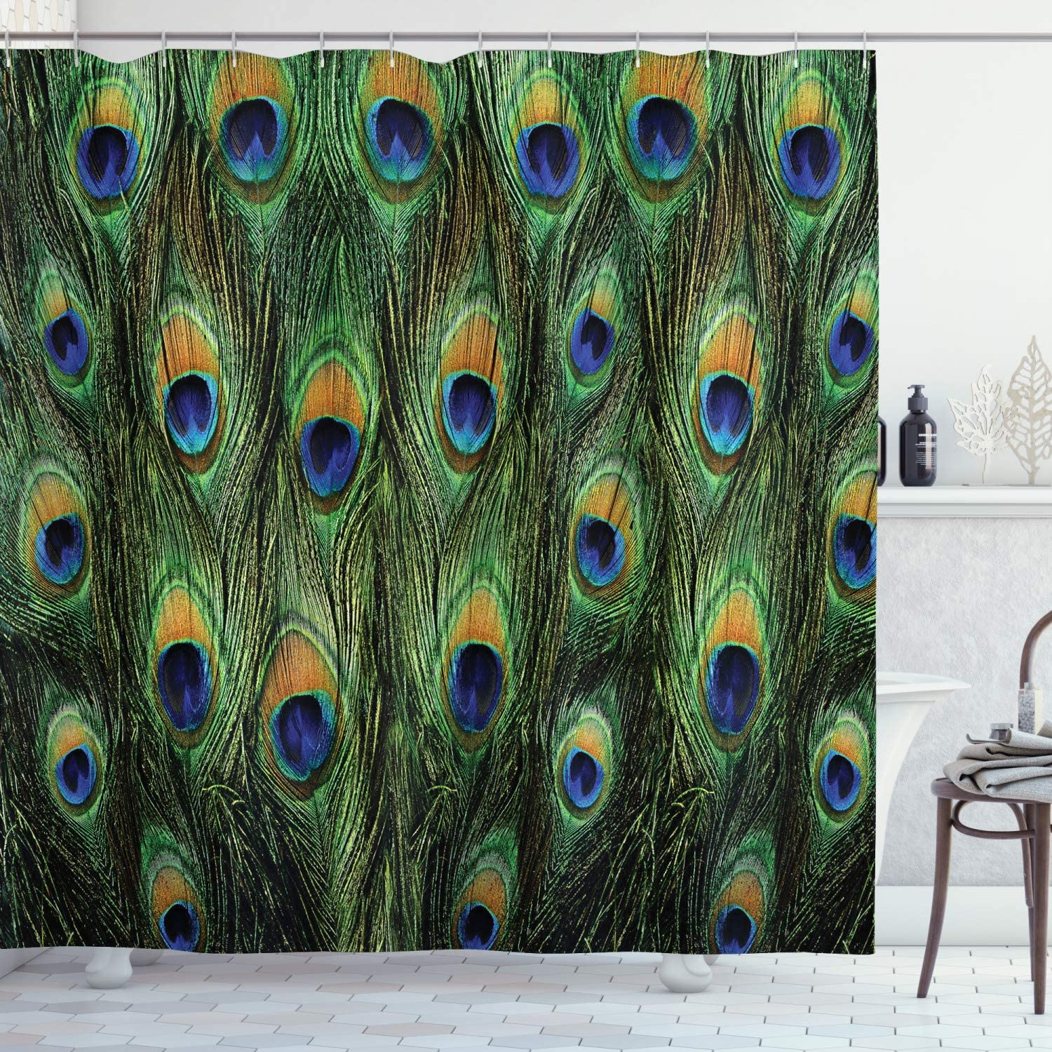 "Ambesonne Peacock Shower Curtain, Peacock Tail Feathers Tropical Exotic Animals Close-up Picture Artwork, Cloth Fabric Bathroom Decor Set with Hooks, 70"" Long, Green Mustard"