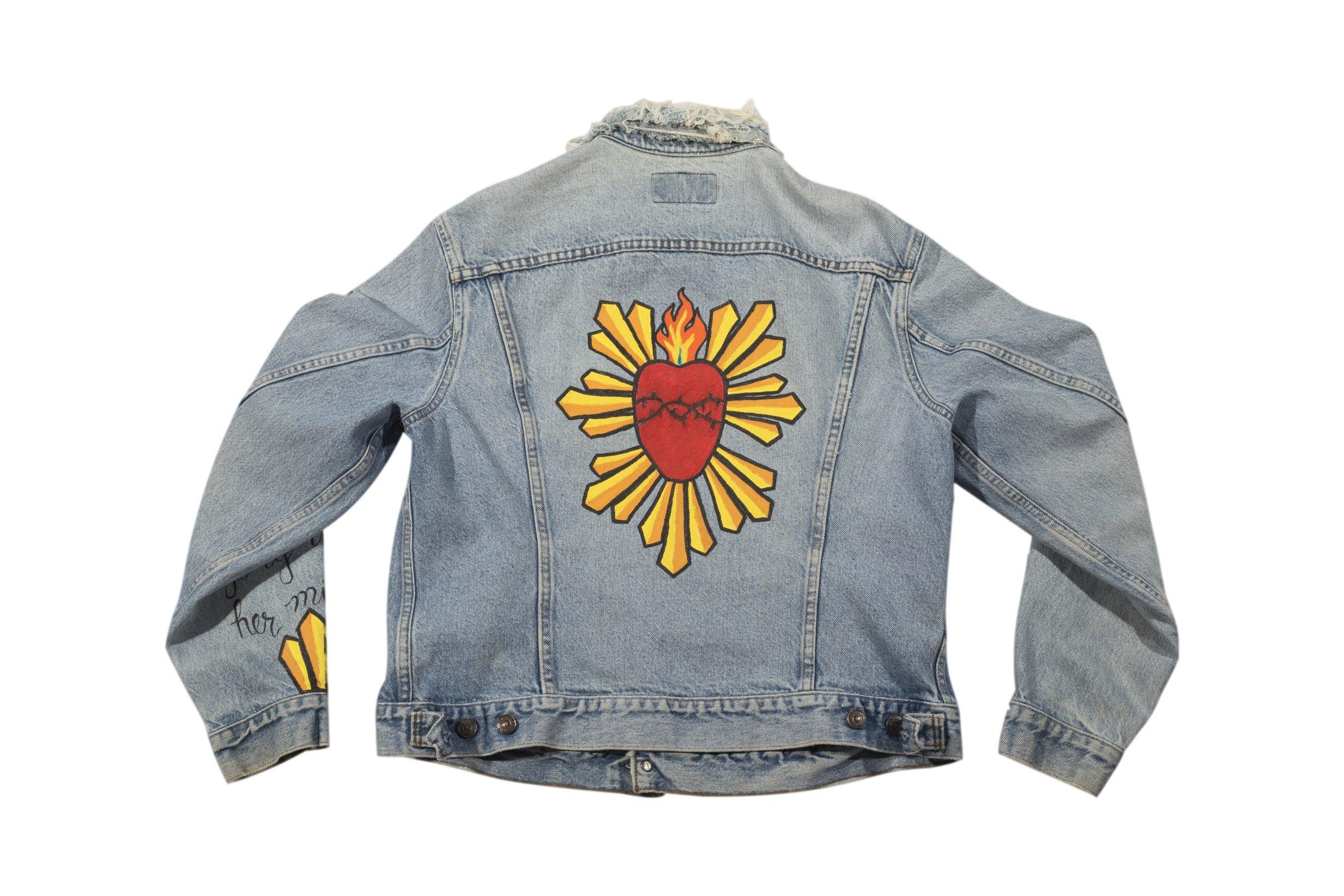 Hand Painted Sacred Heart Denim Jacket