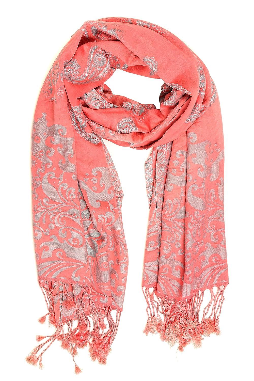 Flowers Tribal Theme Design Cashmere Feel Scarves with Tassels for Men Women