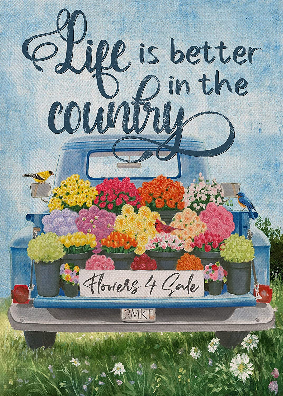 Furiaz Life is Better in the Country Garden Flag, House Yard Decorative Flag Flower Blue Truck Home Outside Decorations, Spring Summer Seasonal Watercolor Burlap Outdoor Decor Flag Double Sided 12x18