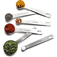 Bellemain Stainless Steel 6-Pc. Measuring Spoon Set with D-Ring Holder, for Dry and Liquid Ingredients