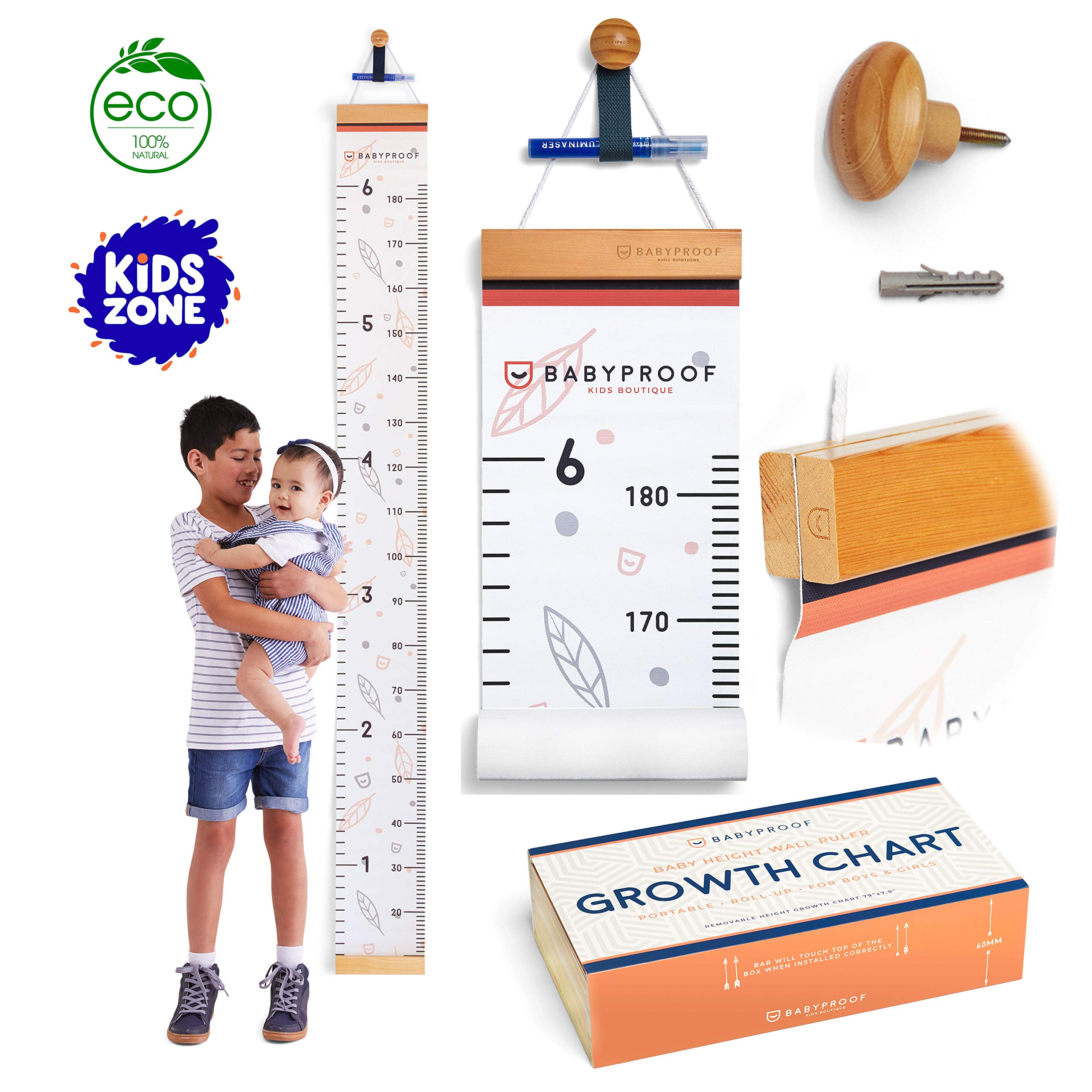 Growth Chart for Kids by Baby Proof - Measuring Height Chart and Kids Decor! Meaningful Memories through Kid Size Chart Measurement. Falling Leaves Growth Chart Ruler for Wall with Wooden Keepsake Box by BabyProof Kids Boutique