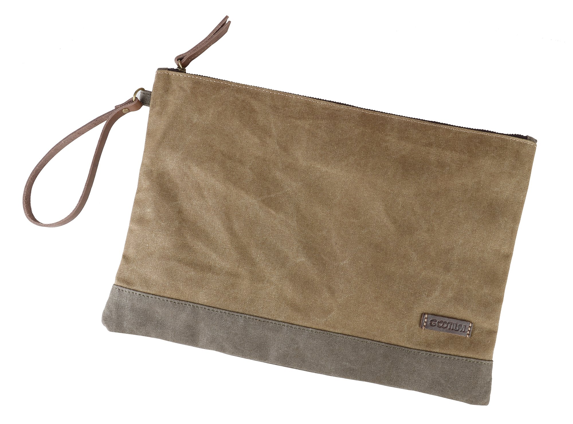 Gootium Waxed Canvas Multipurpose File Envelope Accessories Organizer For Artists And Office, 13''x9.4'', A4 Size, Water Resistant, Khaki