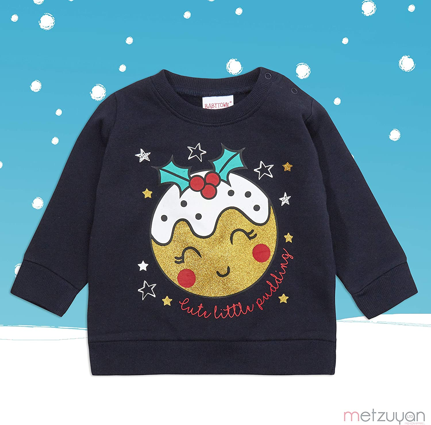 Metzuyan Baby Girls and Boys Unisex Xmas Printed Christmas Jumpers 100/% Cotton Sweaters