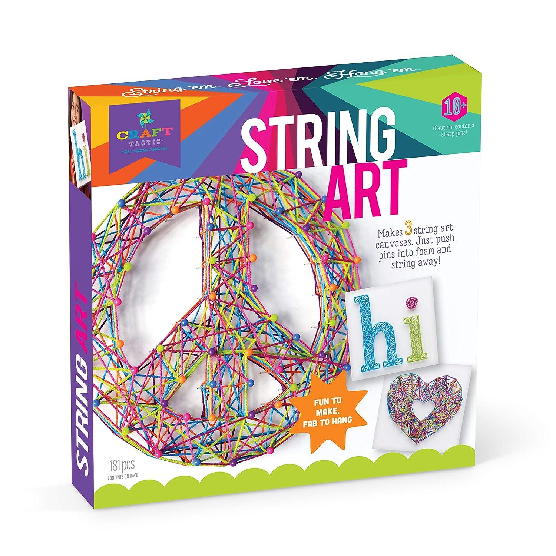 Craft-tastic – String Art Kit – Craft Kit Makes 3 Large String Art Canvases