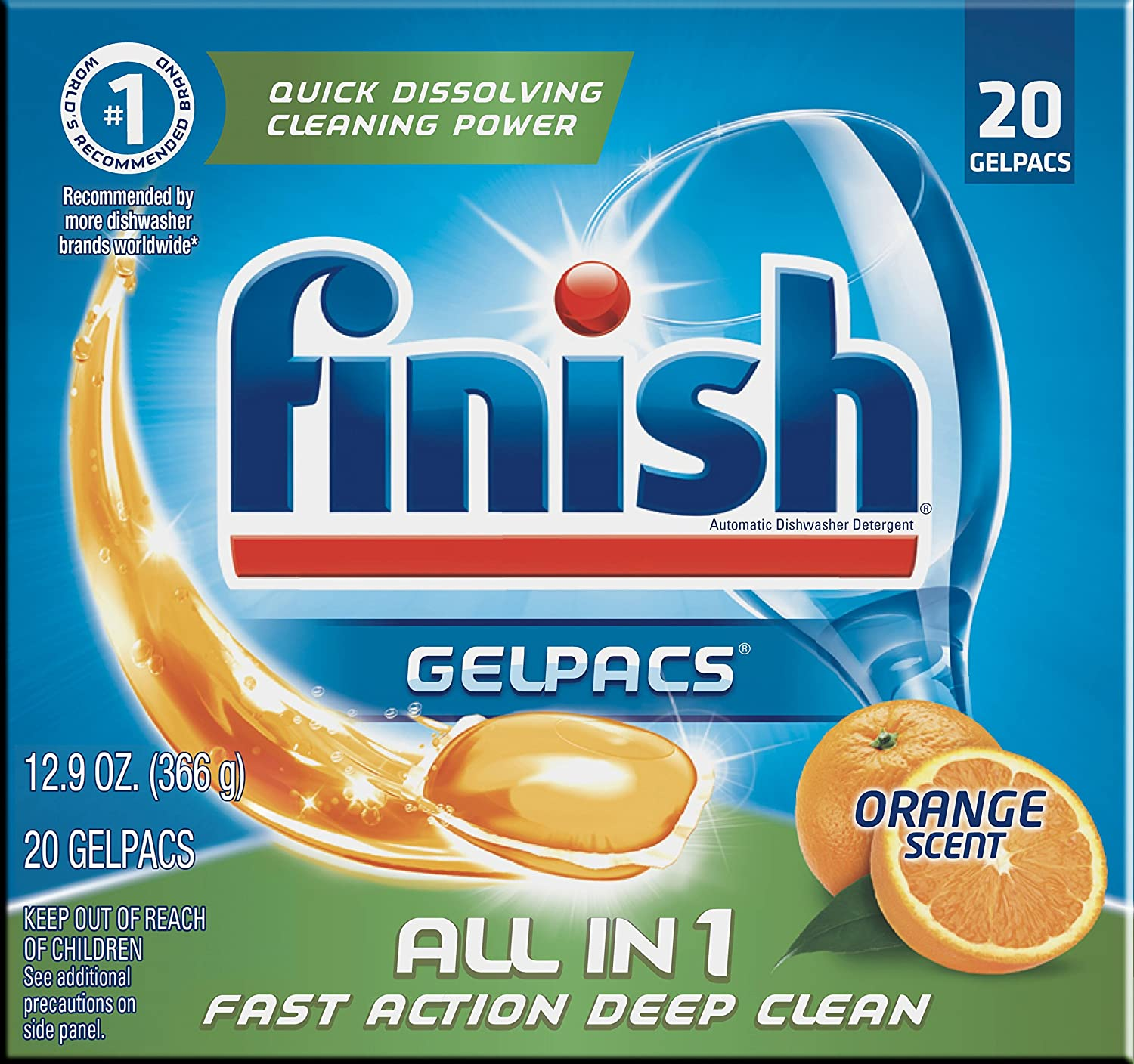 Finish all In 1 Gelpacs, Orange 20 Tabs, Dishwasher Detergent Tablets