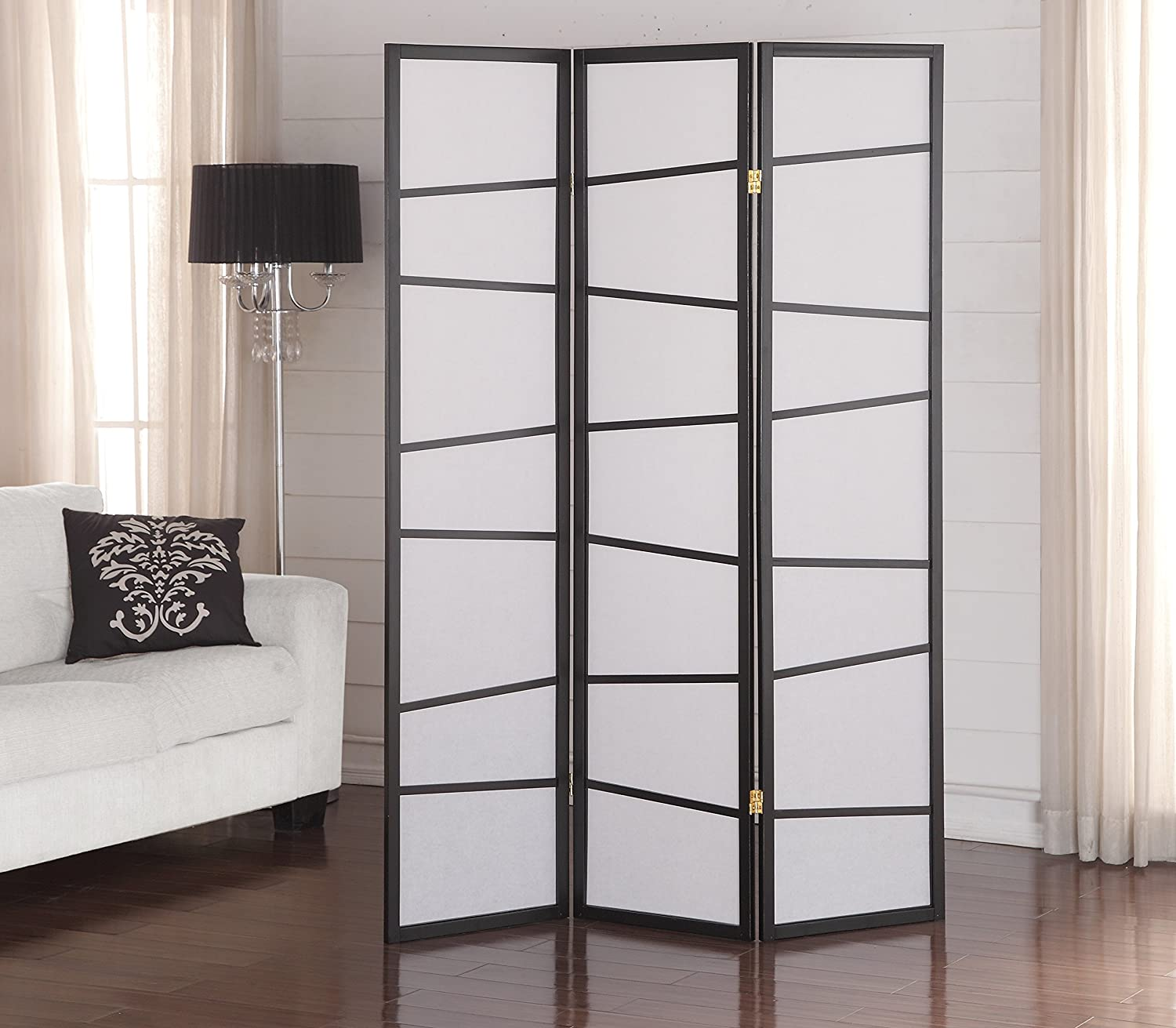 Amazon.com: Roundhill Furniture 3 Panel Screen Room Divider, Black: Kitchen  U0026 Dining
