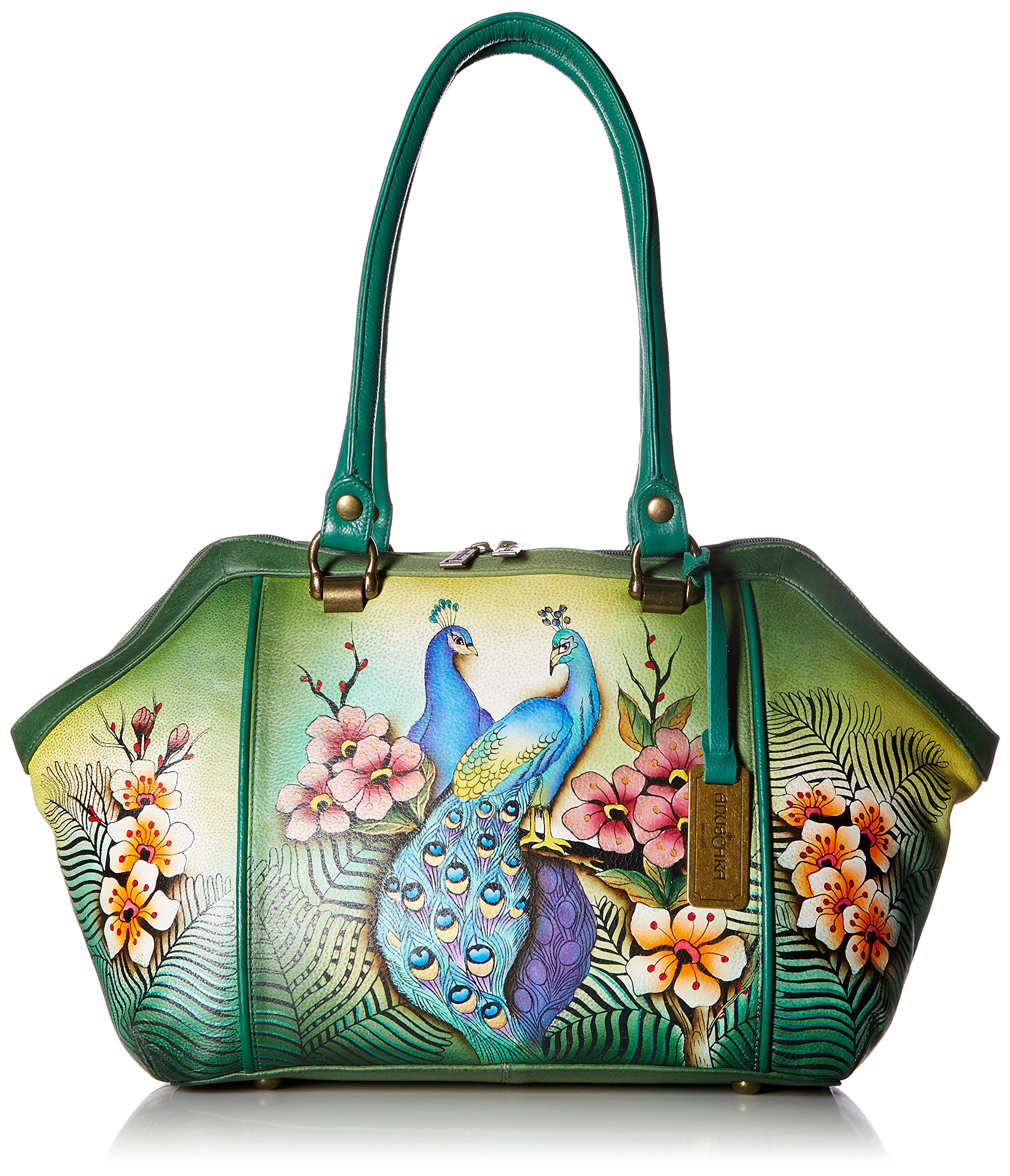 Anuschka Hand Painted Leather Large Wide Satchel, Passionate Peacocks