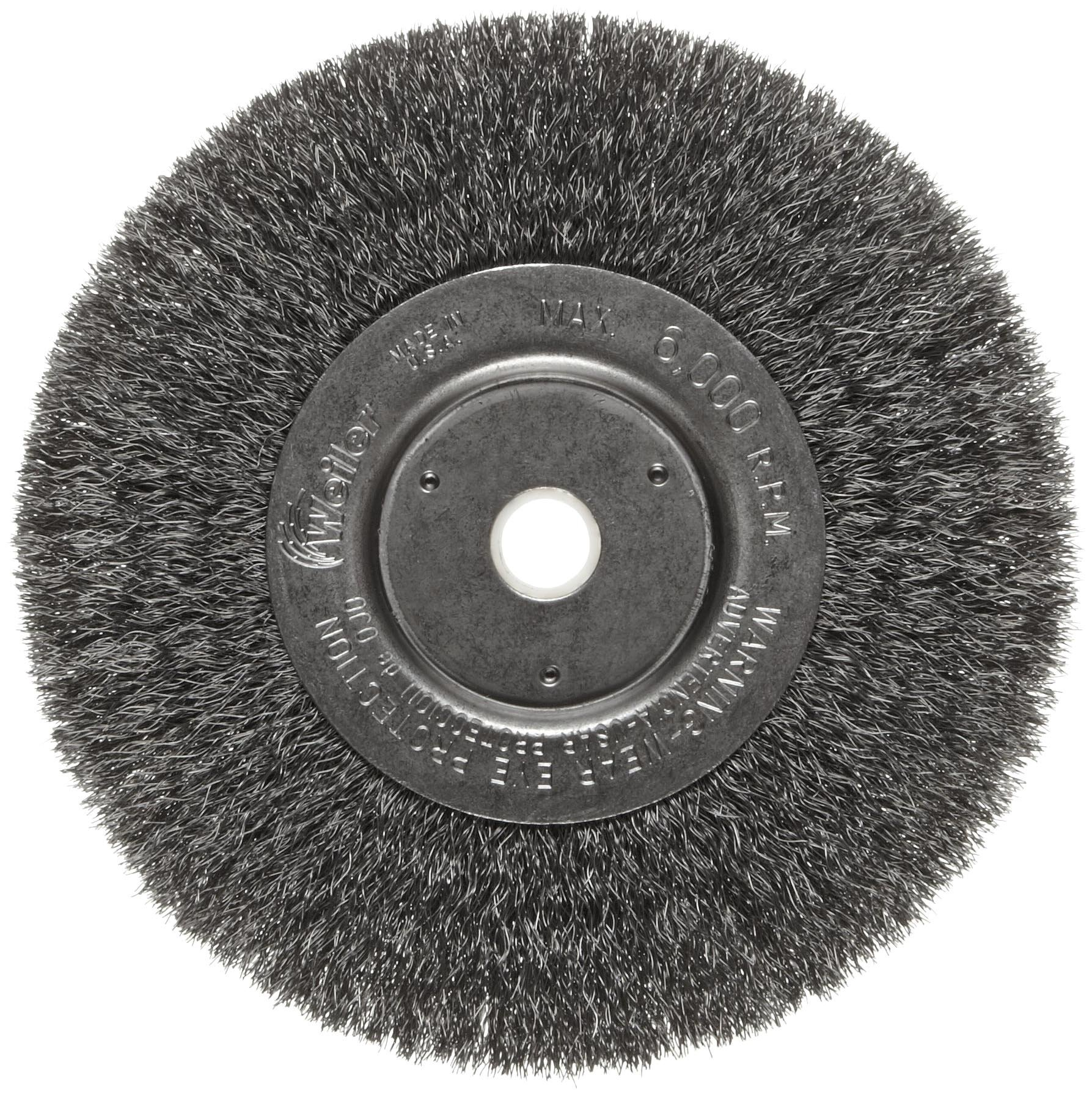 Weiler Trulock Narrow Face Wire Wheel Brush, Round Hole, Steel, Crimped Wire, 6'' Diameter, 0.008'' Wire Diameter, 5/8-1/2'' Arbor, 1-7/16'' Bristle Length, 3/4'' Brush Face Width, 6000 rpm by Weiler (Image #1)