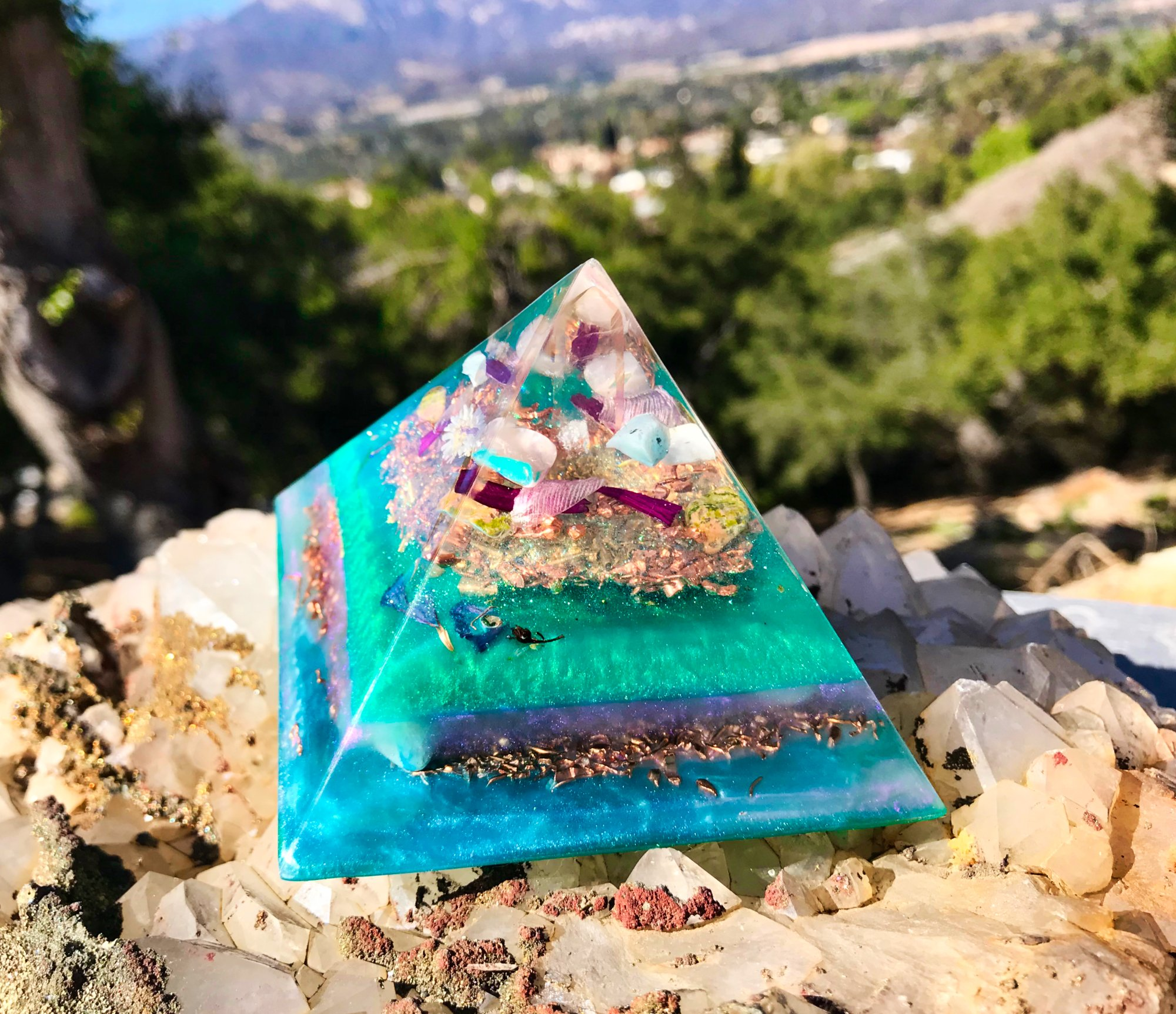 Orgonite Pyramid / Goddess Crystals / Violet Flame Orgone Pyramid