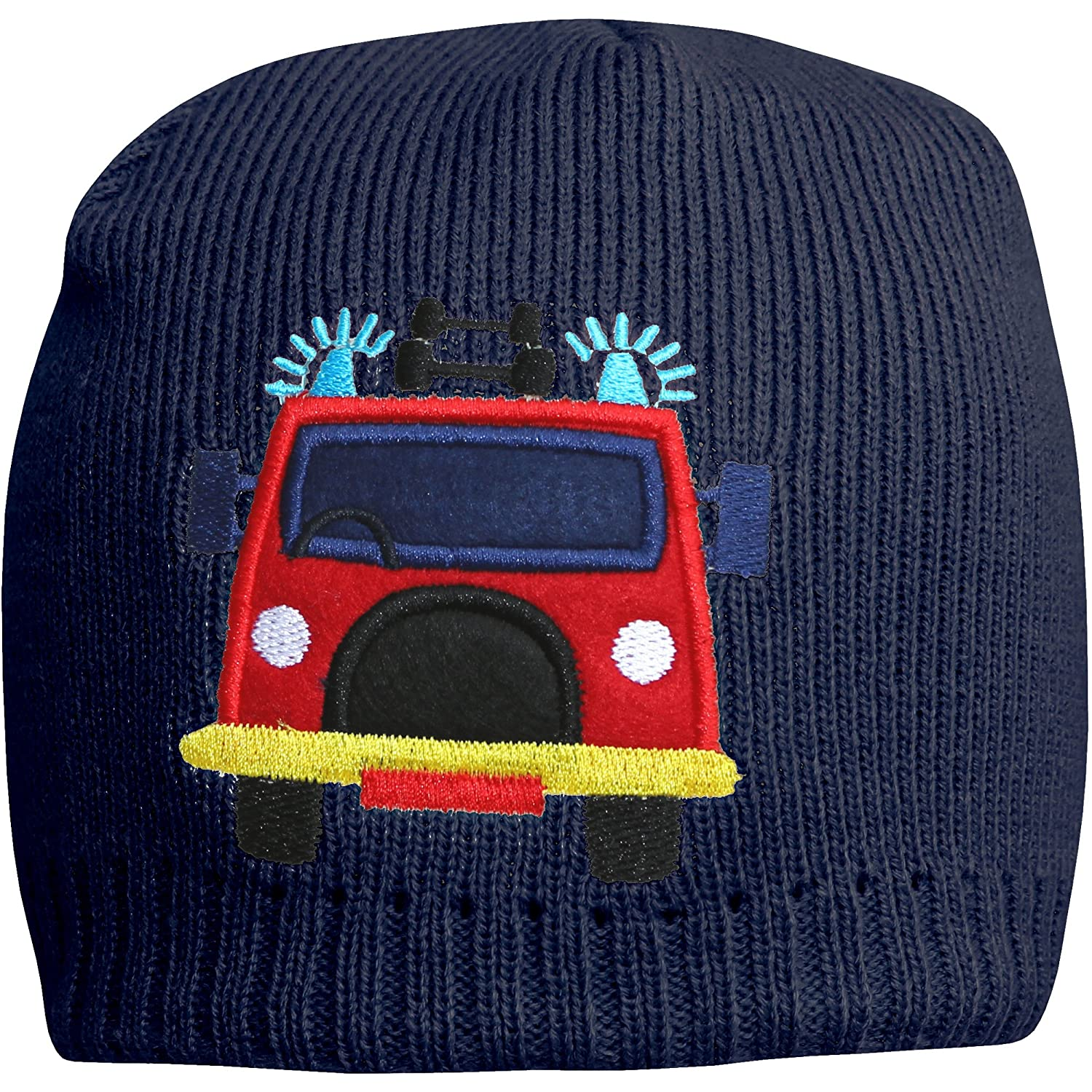 TeddyTs Boys Fire Engine Thermal Beanie Hat with Micro-Fleece Lining