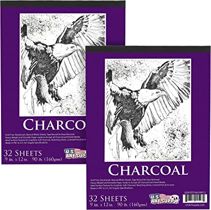 160gsm 30 Sheets Charcoal Paper Pad 9in x 12in Premium Heavy-Weight 90 Pound