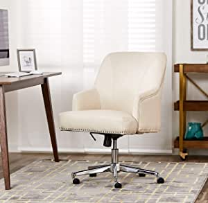 Amazon Com Serta Leighton Home Office Memory Foam Height Adjustable Desk Accent Chair With Chrome Finished Stainless Steel Base Bonded Leather Off White Furniture Decor