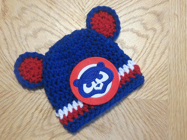 Amazon Crochet Chicago Cubs Hat Size 0 3 Months Cubs Bear