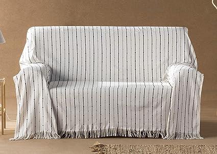 DECORACION NUEVO ESTILO- Plaid-Foulard Multiusos Toscana para Camas o sofás, tamaño 180 x 260, Color 99 Crudo (Varias Medidas y Colores)