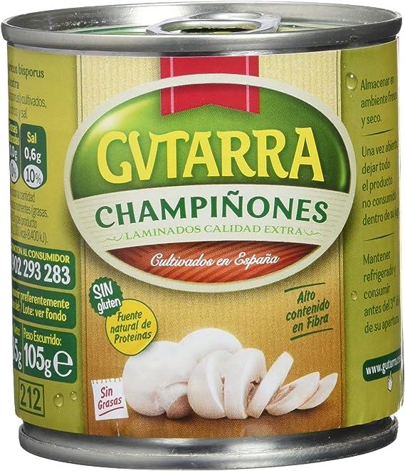 Gvtarra Champiñón Laminado Extra Lata - Paquete de 4 x 315 gr - Total: 1260 gr