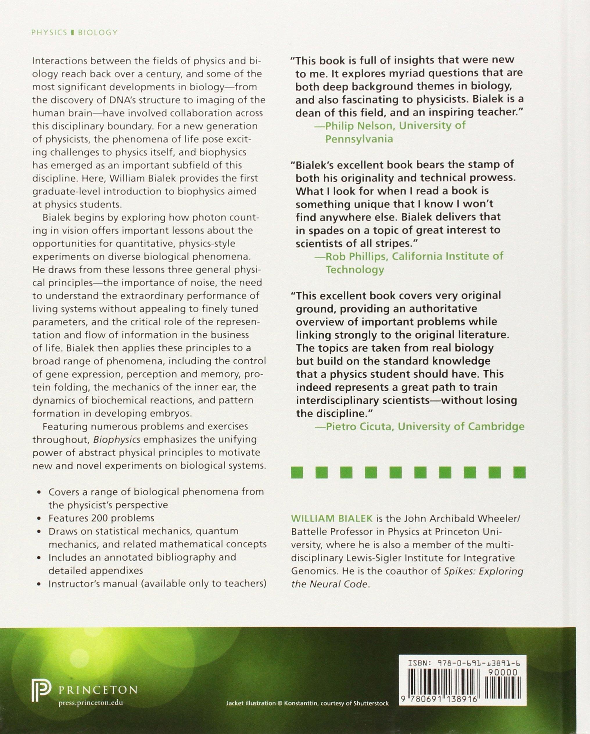 Biophysics searching for principles amazon william bialek biophysics searching for principles amazon william bialek 9780691138916 books fandeluxe Choice Image
