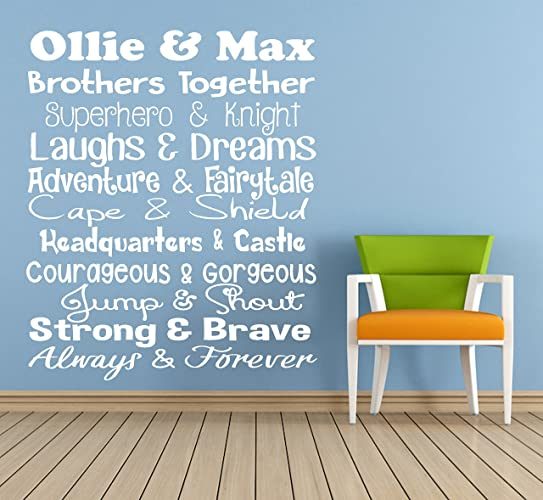 Personalised \'Brothers Together\' Quote, Vinyl Wall Art Sticker ...