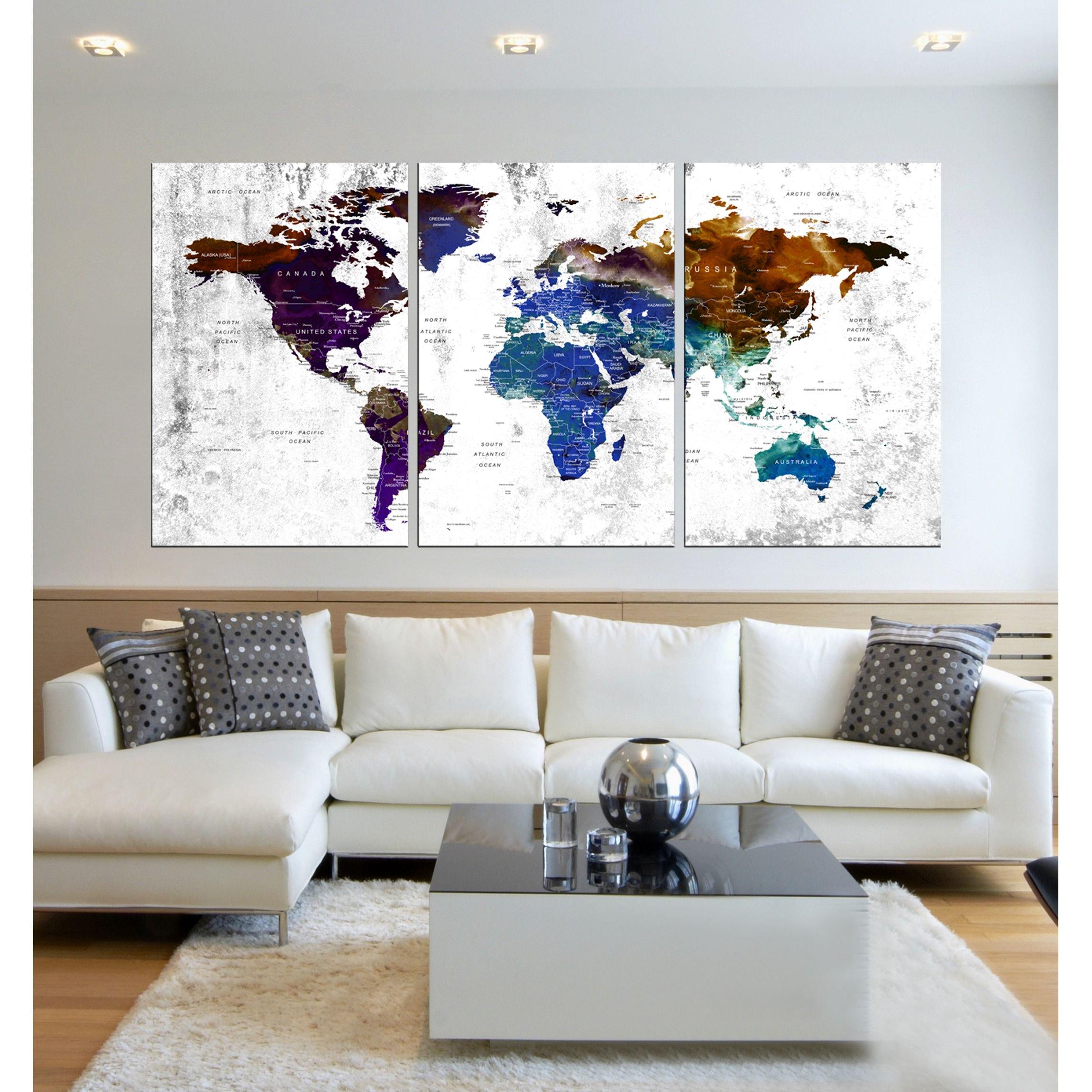 Visual Art Decor Large Watercolor push pin World Map Wall Art Canvas Prints Creative Map Painting Poster Prints Home Wall Decor Ready to Hang hr85