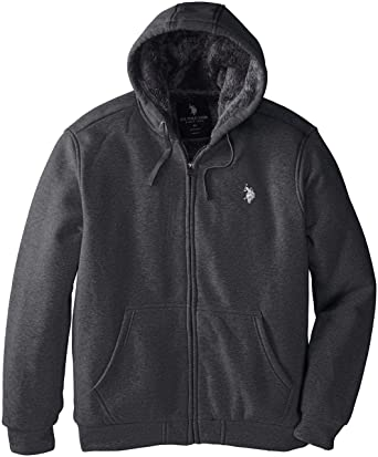 U.S. Polo Assn. Men's Sherpa Lined Full Zip Fleece Hoodie at ...