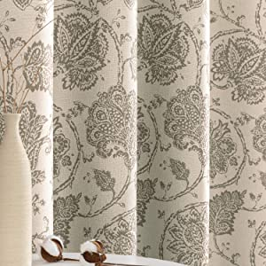 jinchan Floral Scroll Printed Linen Textured Curtains Grommet Top Ikat Flax Textured Medallion Design Jacobean Room Darkening Curtains Retro Living Room Window Covering Taupe 84 inch Long Two Panels