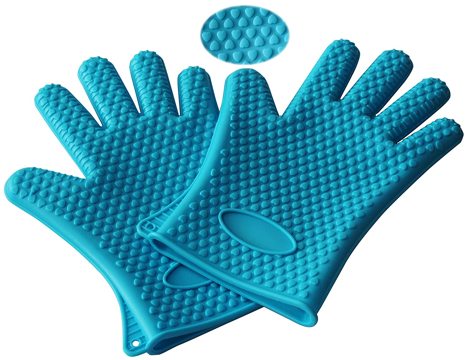 WARRAH Cooking Gloves Heat Resistant Silicone High Quality - One-size-fits-all Design Silicone Cooking Gloves - Heat Resistant Oven Mitt for Grilling, BBQ, Kitchen- 1 Pair Blue
