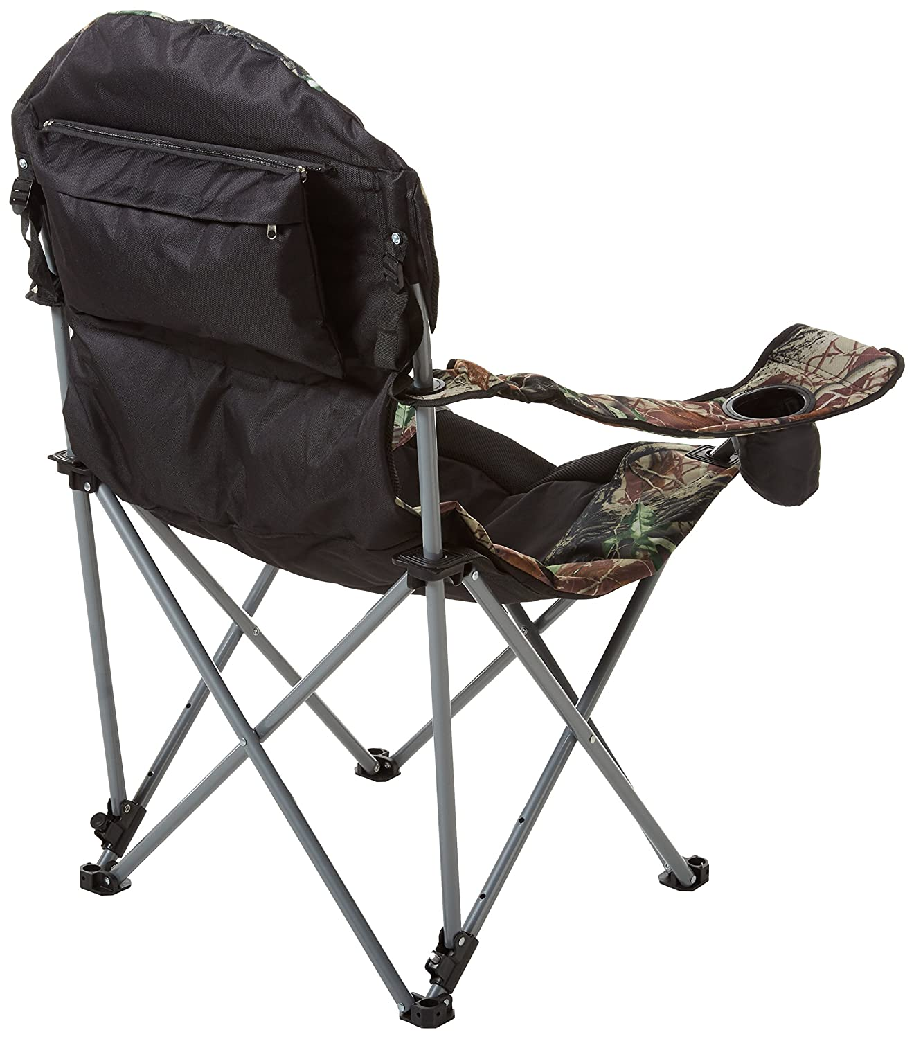 Stylish Camping Foldable Reclining Camp Chair Black//Hunt Camo