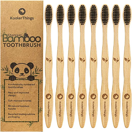 8 cepillos de dientes biodegradables de carbón natural de bambú ...