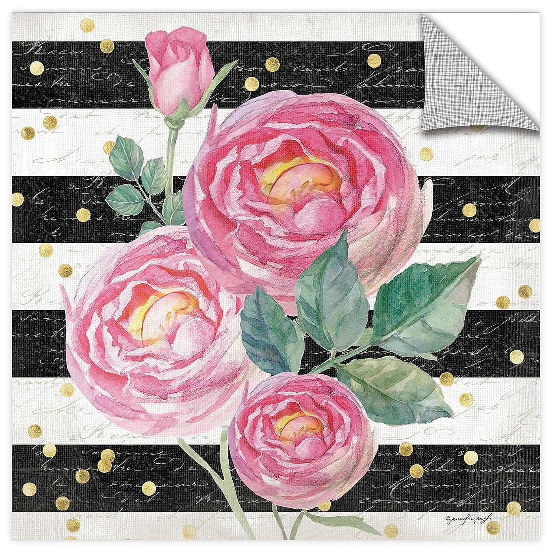 24X24 Jennifer Pugh BW Floral I Gallery Wrapped Canvas