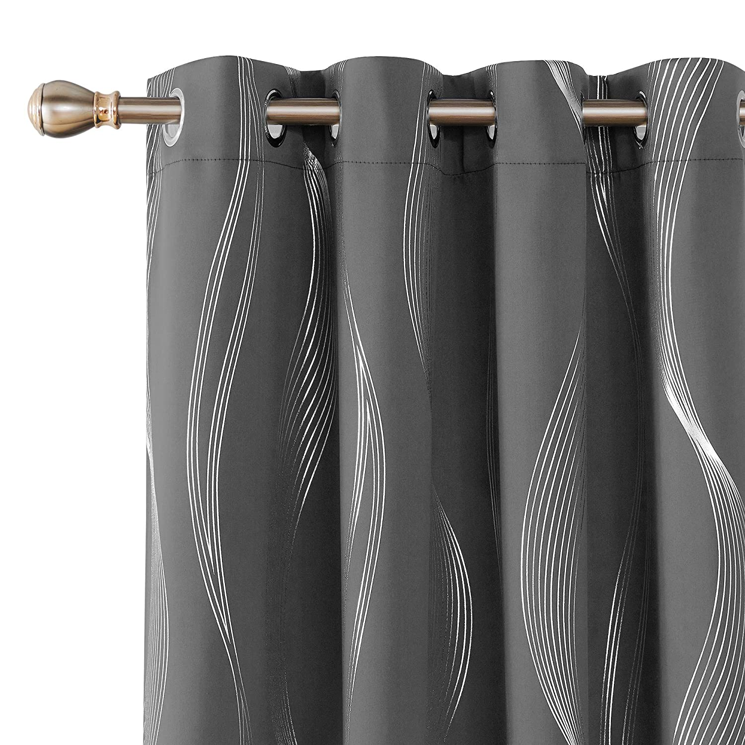 Deconovo Foil Print Wave Design Blackout Curtains Grommet Top Window Curtain for Kids Room 2 Curtain Panels 52 by 63 Inch Dark Grey