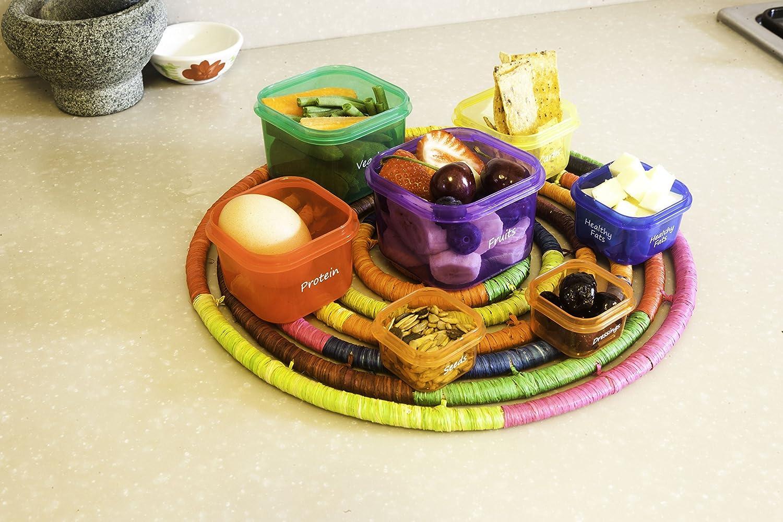 Comprende sacchetto contenitore lingua italiana non garantita Set di 7 contenitori per il cibo con etichette specifiche Set di contenitori multicolore per dosatu per controllo della dieta Ideali per una dieta sana di diverse misure con guida inclusa