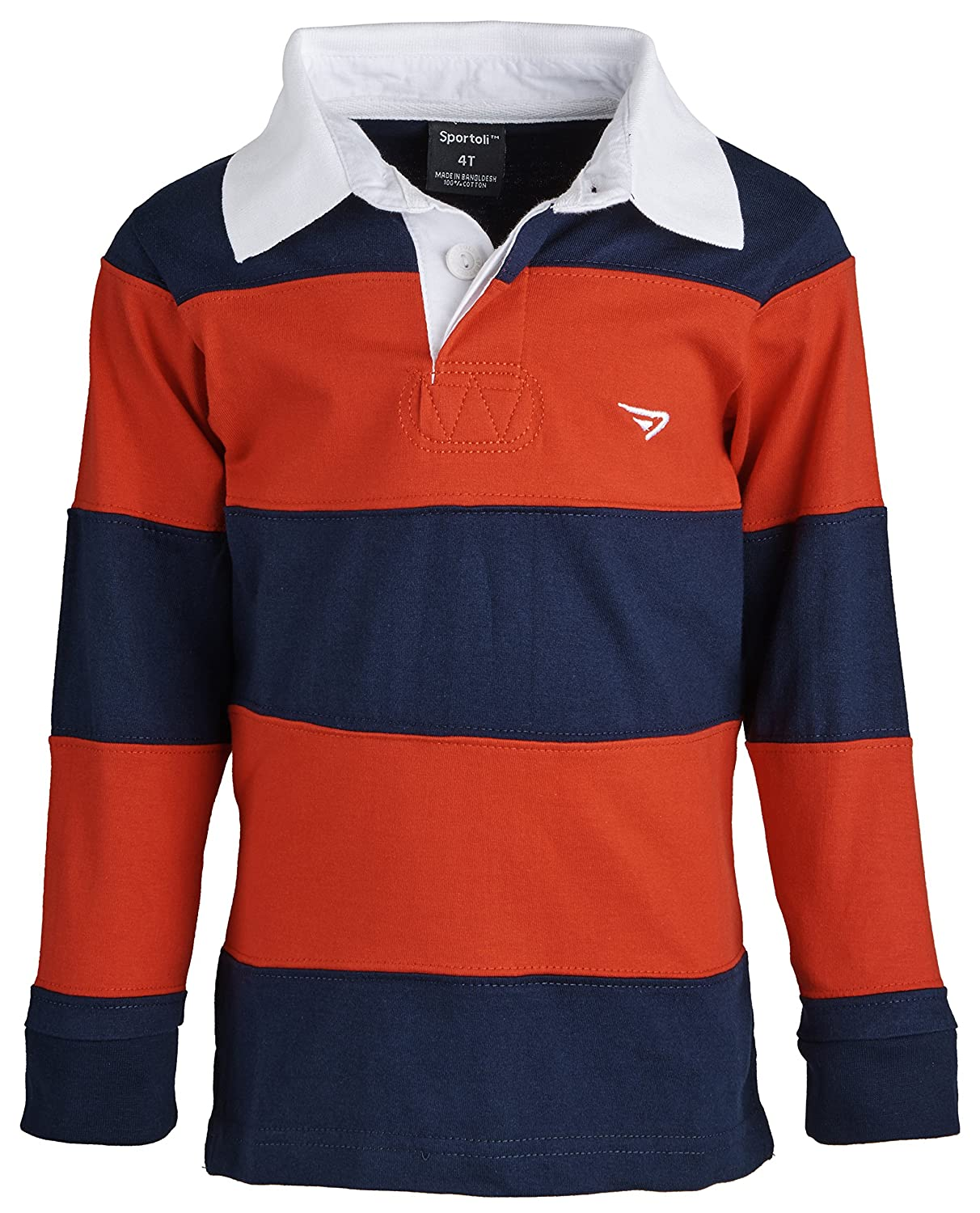 Sportoli 174; Boys 100% Cotton Wide Striped Long Sleeve Polo Rugby Shirt