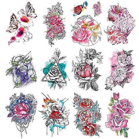 Oottati 12 Hojas Tatuaje Temporal Tattoo Flores Grandes Pegatinas ...